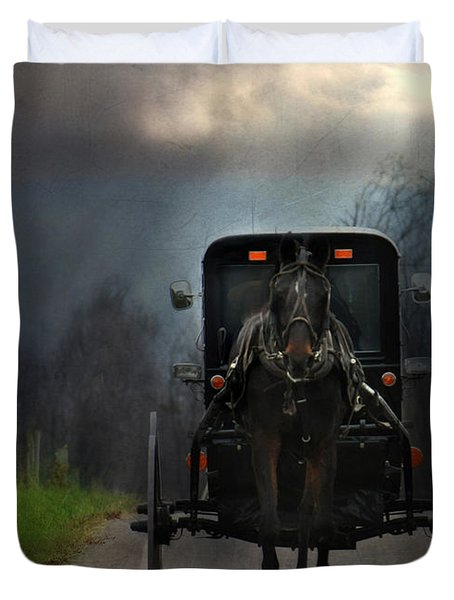 The Road Less Traveled Duvet Cover by Lori Deiter