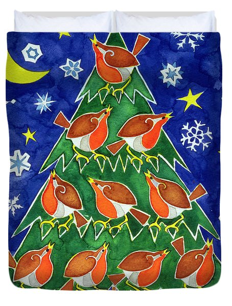 The Robins Chorus Duvet Cover by Cathy Baxter