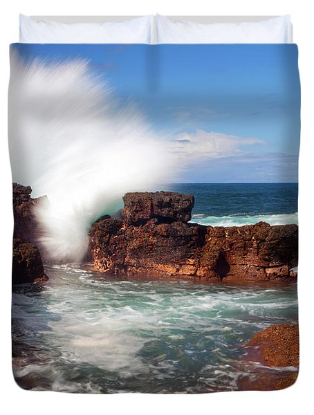 The Sea Explodes Duvet Cover by Mike  Dawson