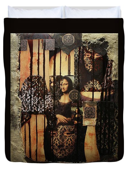 The Secrets Of Mona Lisa Duvet Cover by Michael Kulick