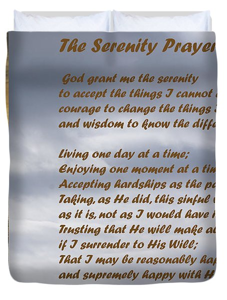 The Serenity Prayer Duvet Cover by Barbara Snyder
