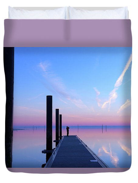 Duvet Cover featuring the photograph The Silent Man by Thierry Bouriat