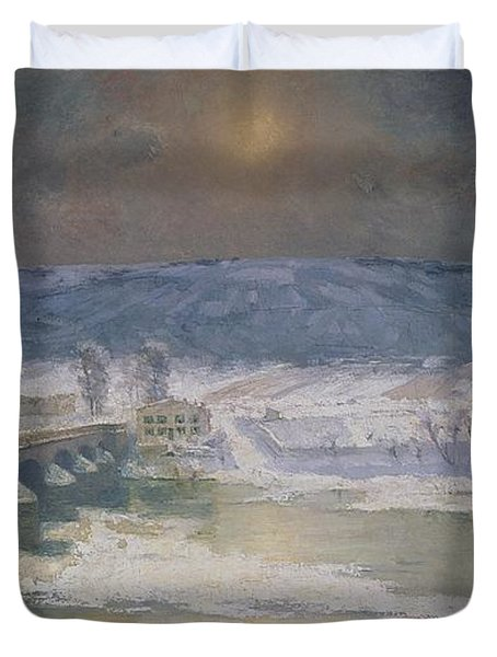 The Snow In The Auvergne Duvet Cover by Albert Charles Lebourg