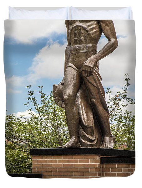 The Spartan Statue - Michigan State University Duvet Cover by John McGraw