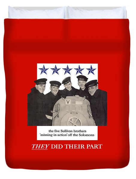 The Sullivan Brothers Duvet Cover by War Is Hell Store