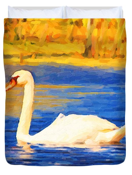 The Swan Family . Photoart Duvet Cover by Wingsdomain Art and Photography