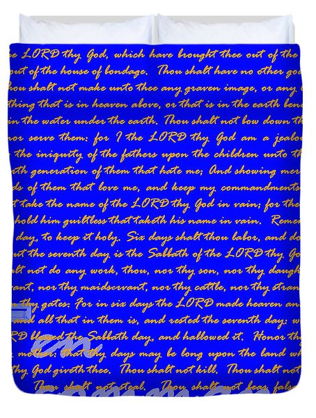 The Ten Commandments 20130213blue Duvet Cover by Wingsdomain Art and Photography