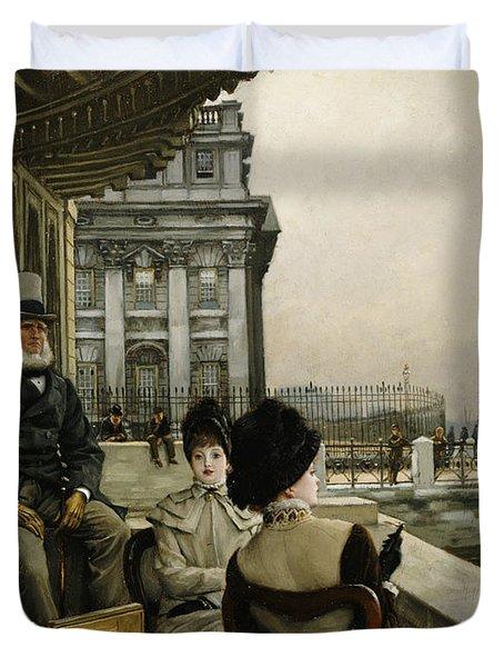 The Terrace Of The Trafalgar Tavern Greenwich Duvet Cover by James Jacques Joseph Tissot