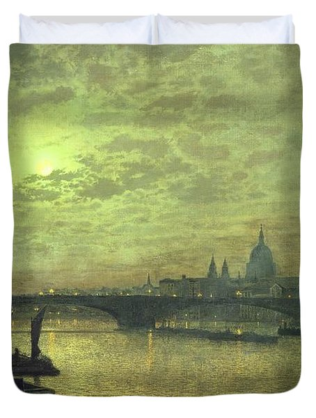 The Thames By Moonlight With Southwark Bridge Duvet Cover by John Atkinson Grimshaw