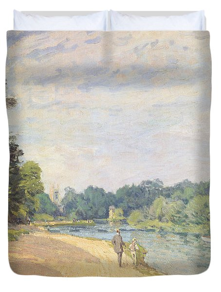 The Thames With Hampton Church Duvet Cover by Alfred Sisley