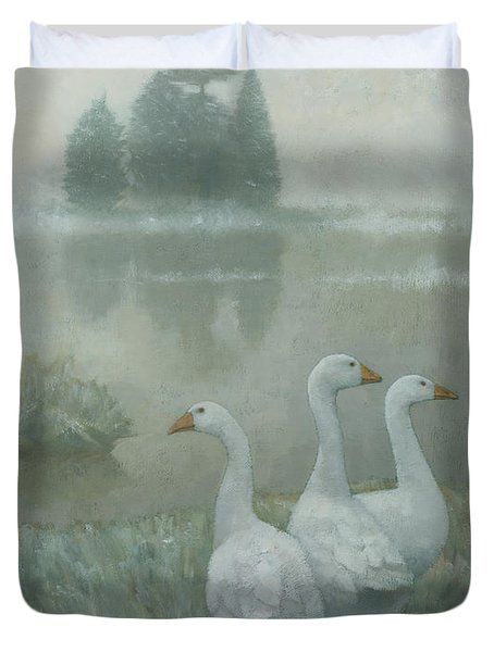 The Three Geese Duvet Cover by Steve Mitchell