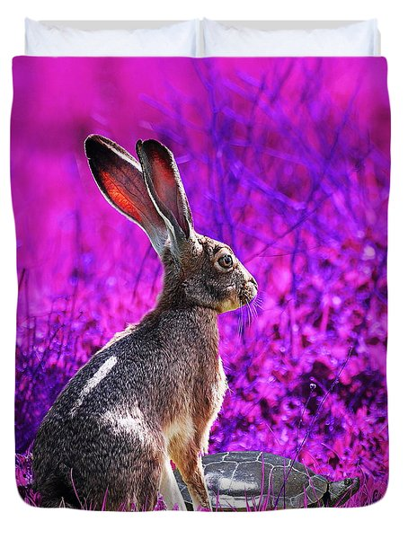 The Tortoise and the Hare . Magenta Square Duvet Cover by Wingsdomain Art and Photography