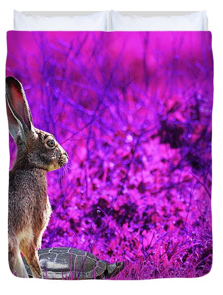 The Tortoise and the Hare . Magenta Duvet Cover by Wingsdomain Art and Photography