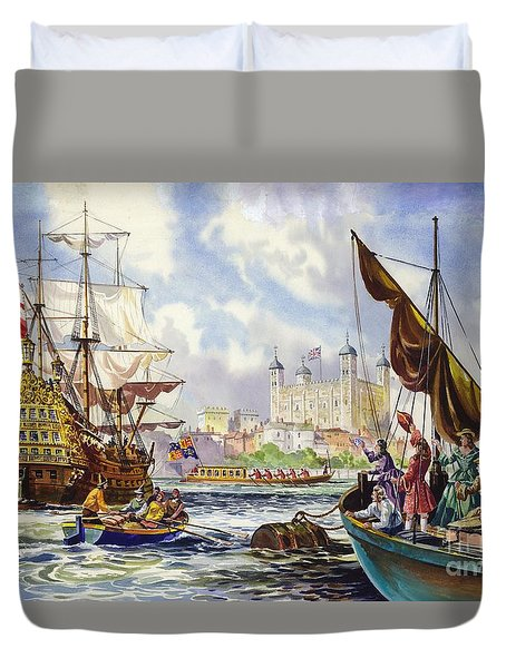 The Tower Of London In The Late 17th Century  Duvet Cover by English School