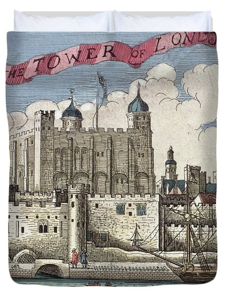 The Tower Of London Seen From The River Thames Duvet Cover by English School