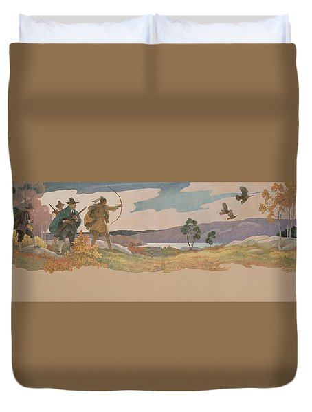 The Turkey Hunters Duvet Cover by Newell Convers Wyeth