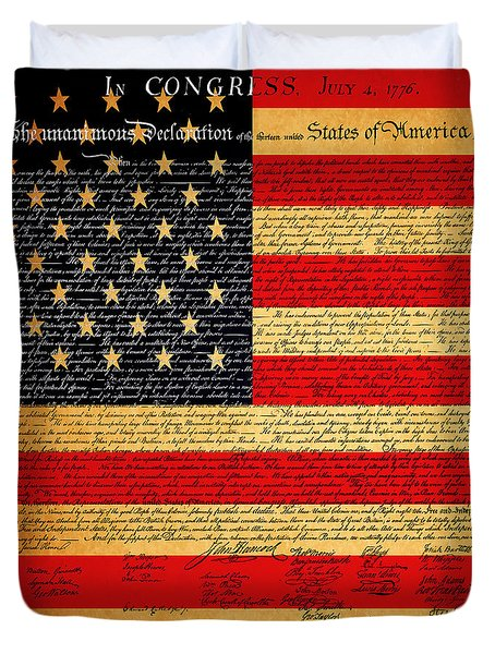 The United States Declaration of Independence - American Flag - square Duvet Cover by Wingsdomain Art and Photography