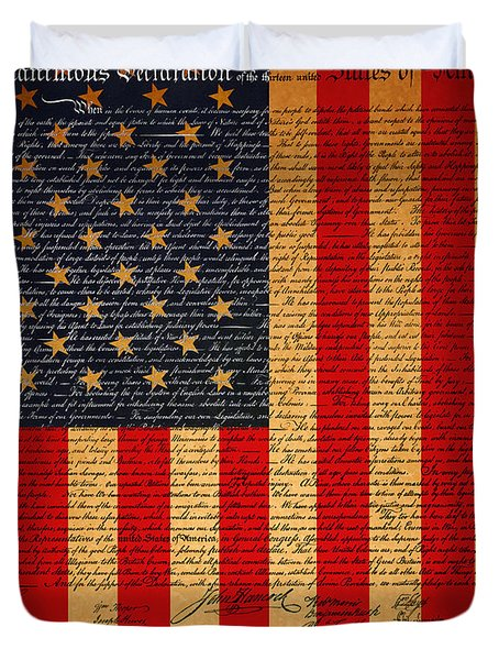The United States Declaration of Independence And The American Flag 20130215 Duvet Cover by Wingsdomain Art and Photography