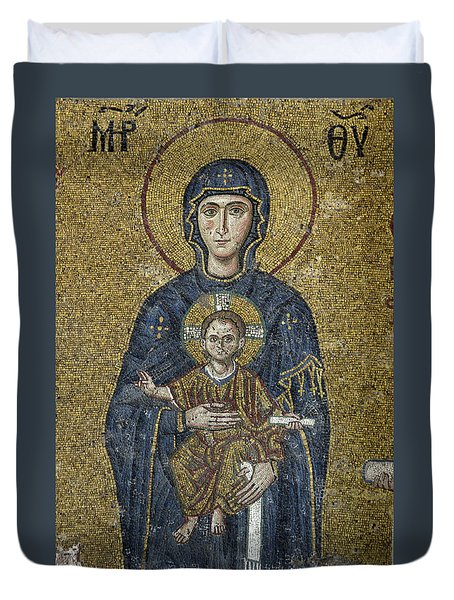 The Virgin Mary Holds The Child Christ On Her Lap Duvet Cover by Ayhan Altun