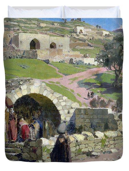 The Virgin Spring In Nazareth Duvet Cover by Vasilij Dmitrievich Polenov