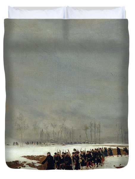 The War Of 1870 An Infantry Column On Their Way To A Raid Duvet Cover by Jean-Baptiste Edouard Detaille