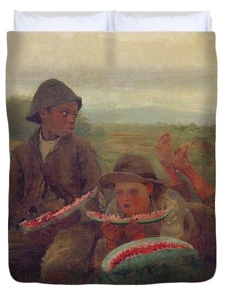 The Watermelon Boys Duvet Cover by Winslow Homer