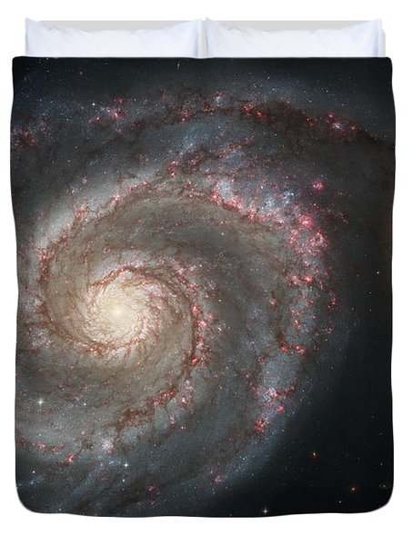 The Whirlpool Galaxy M51 And Companion Duvet Cover by Stocktrek Images