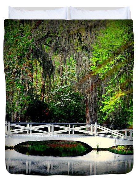 The white bridge in Magnolia Gardens SC Duvet Cover by Susanne Van Hulst