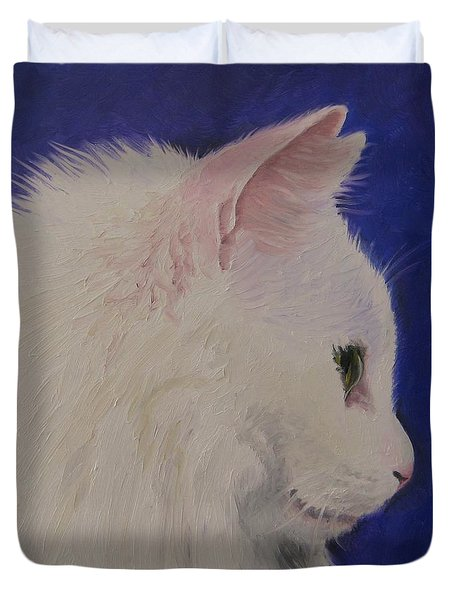 The White Cat Duvet Cover by Jindra Noewi