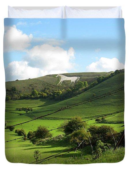 The White Horse Westbury England Duvet Cover by Kurt Van Wagner