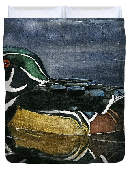 The Wood Duck Duvet Cover by Mary Tuomi