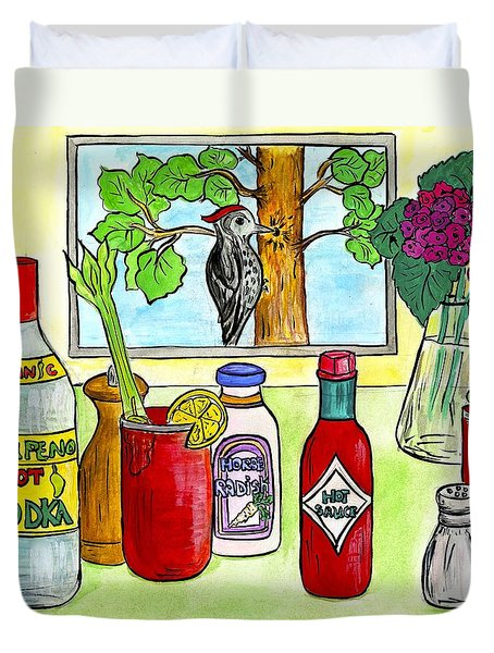 The Woodpecker And The Bloody Mary Duvet Cover by Jenya Katsnelson