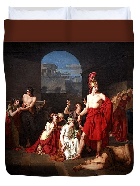 Theseus Victor Of The Minotaur Duvet Cover by Charles Edouard Chaise