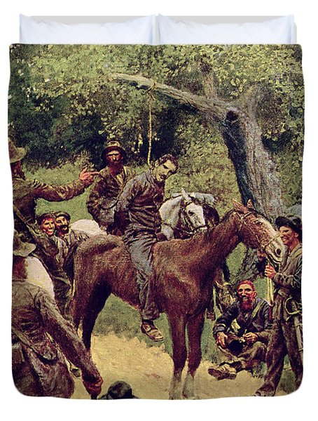 They Talked It Over With Me Sitting On The Horse Duvet Cover by Howard Pyle