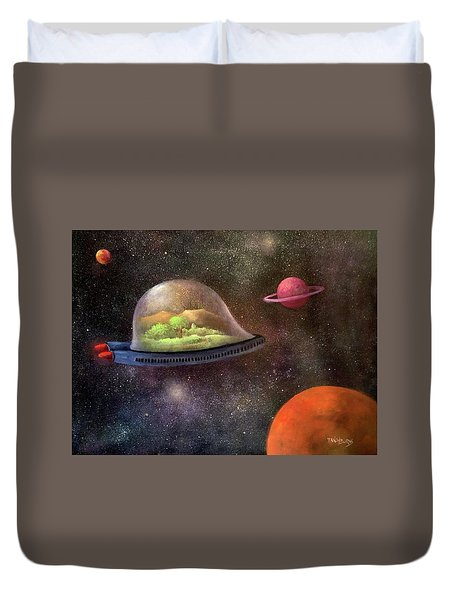 They Took Their World With Them Duvet Cover by Randy Burns aka Wiles Henly