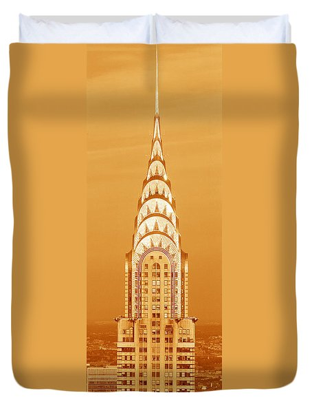Chrysler Building At Sunset Duvet Cover by Panoramic Images