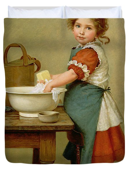 This Is The Way We Wash Our Clothes  Duvet Cover by George Dunlop Leslie