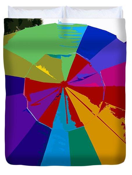 Three Beach Umbrellas Duvet Cover by David Lee Thompson