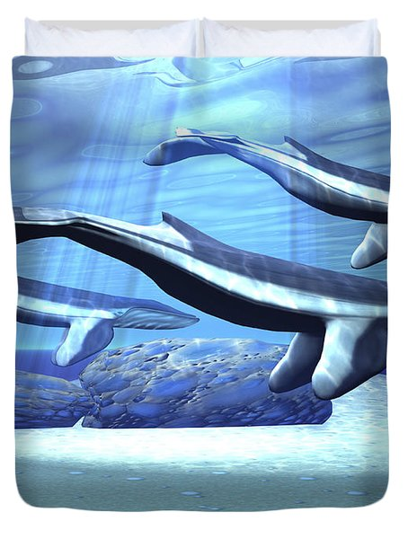 Three Blue Whales Move Duvet Cover by Corey Ford