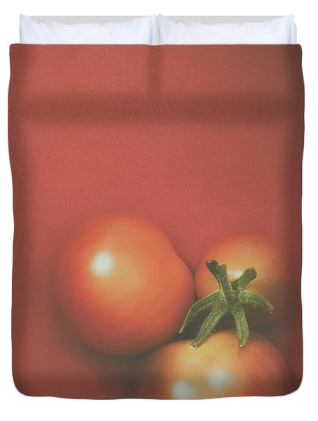 Three Cherry Tomatoes Duvet Cover by Scott Norris