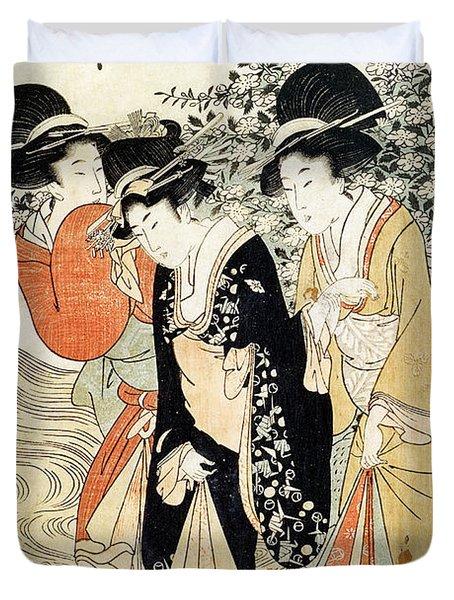Three Girls Paddling In A River Duvet Cover by Kitagawa Utamaro