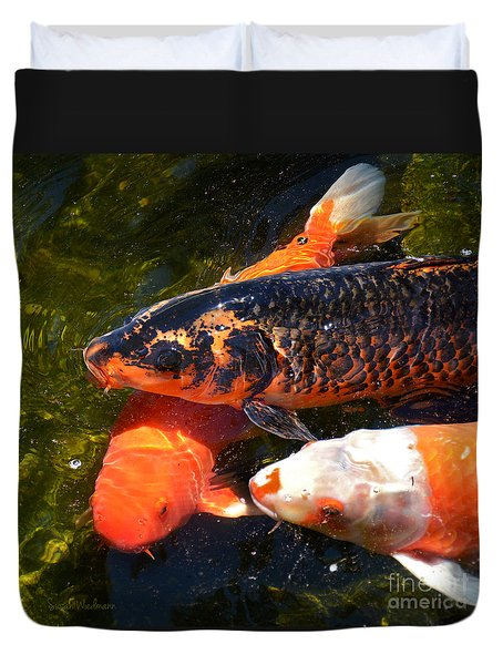 Three Koi Waiting Duvet Cover by Susan Wiedmann