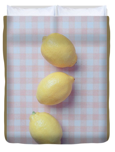 Three Lemons Duvet Cover by Edward Fielding