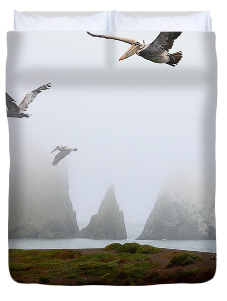 Three Pelicans in Portrait Duvet Cover by Wingsdomain Art and Photography