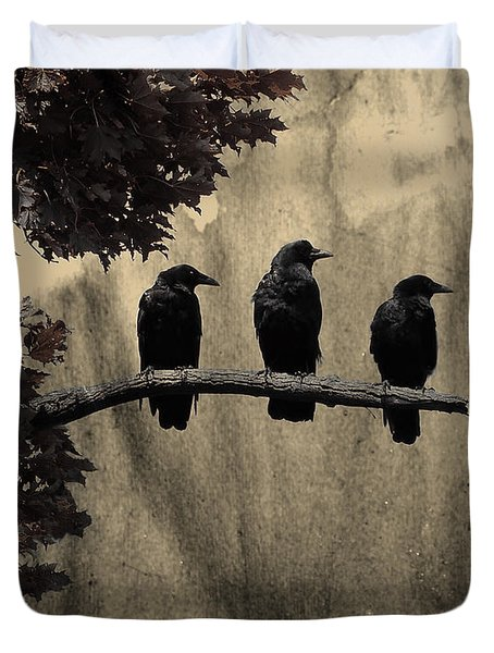 Three Ravens Duvet Cover by Gothicolors Donna