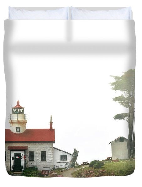 Tides of Battery Point Lighthouse - Northern CA Duvet Cover by Christine Till