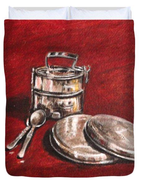 Tiffin Carrier - Still Life Duvet Cover by Usha Shantharam