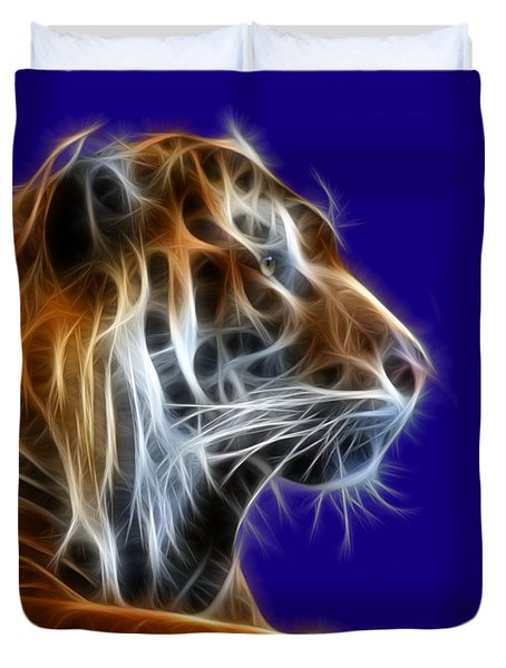 Tiger Fractal 2 Duvet Cover by Shane Bechler