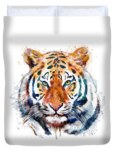 Tiger Head Watercolor Duvet Cover by Marian Voicu