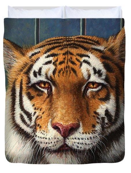 Tiger In Trouble Duvet Cover by James W Johnson